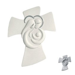 crocifisso sacra famiglia moderno design italiano in ceramica con decorazione argento