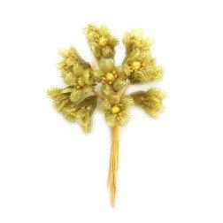 confezione 12 pezzi fiori oro 1,7 cm