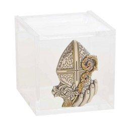 bomboniera scatolina plexiglass placca argento per cresima