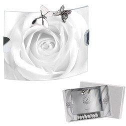 bomboniera portafoto curvo con applicazione farfalle in argento