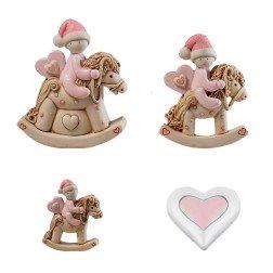 bomboniere battesimo e nascita cuore e cavalli a dondolo rosa
