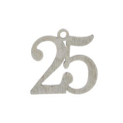 ciondolo numero 25 per bomboniere nozze argento