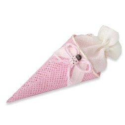 bomboniera cono rosa portaconfetti in juta OFFERTA