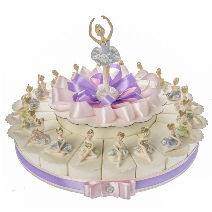 timeless design 134e6 a007b Torta Bomboniere Ballerine Colorate per femmina