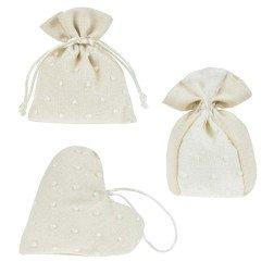 sacchetti portaconfetti in tessuto beige e pois