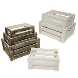 cassette legno porta bomboniere bianche e naturali
