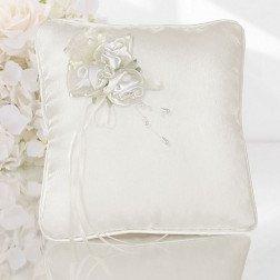 cuscino porta fedi avorio con fiori