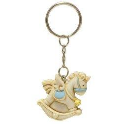 bomboniera utile portachiavi cavallino a dondolo unicorno celeste