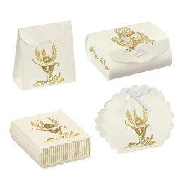 scatoline porta confetti per bomboniere comunione con simbolo calice e spighe oro