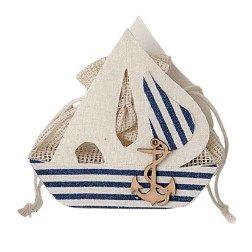 sacchetto porta confetti in juta a forma di barca tema mare