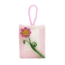 sacchetto borsina porta confetti in juta rosa con fiore