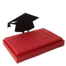 torta laurea rossa rettangolare con cappello con 24 scatoline