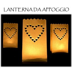 10 lanterne cuori da appoggio con candela