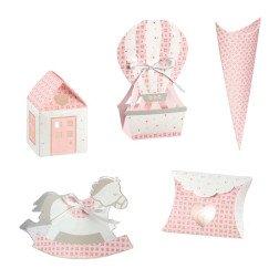 scatoline portaconfetti per battesimo e nascita rosa bloom