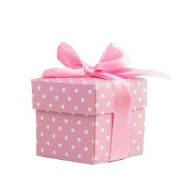 scatoline portaconfetti pois rosa 10 pz
