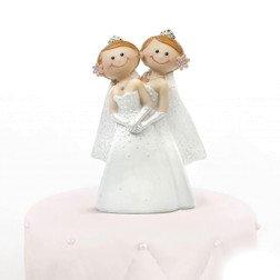 centro torta matrimonio statuina coppia spose donna donna