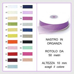 nastro in organza 10 mm rotolo da 50 mt