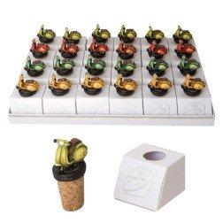 torta 24 scatoline porta confetti con tappo di sughero e oggetto bomboniere comunione vespa