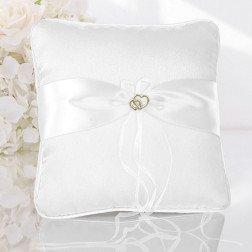 cuscino porta fedi per matrimonio bianco con cuori
