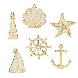 ciondoli per bomboniere legno tema mare Ancora, Timone, Barca, Stella Marina, Conchiglia, Faro