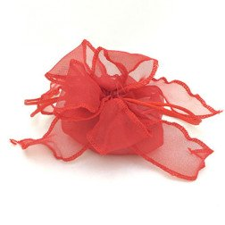sacchetto portaconfetti rosso con doppio fiocco