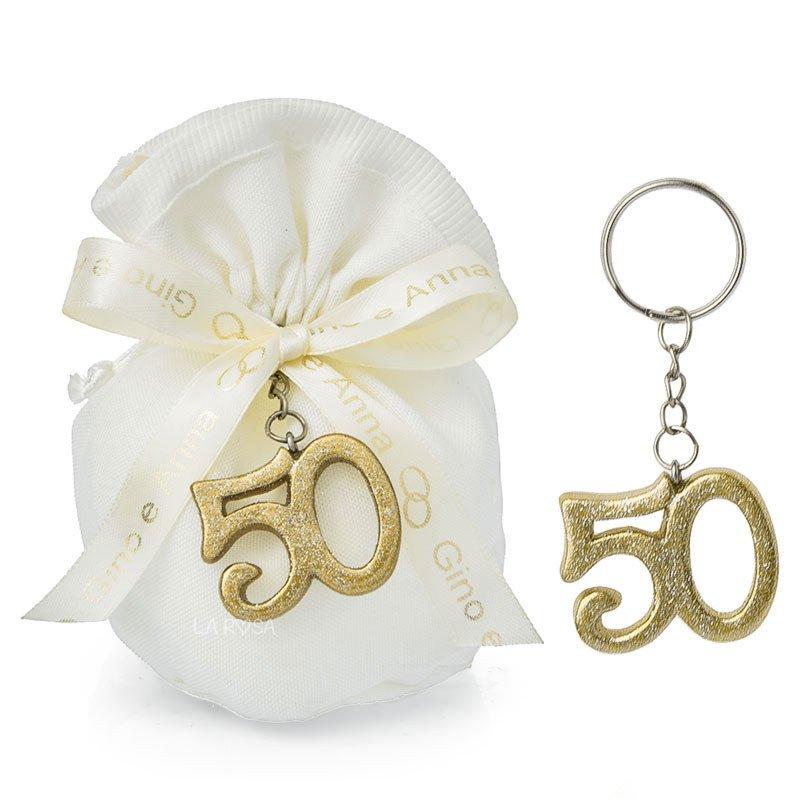 Anniversario Matrimonio Oro.Bomboniere Portachiavi Numero 50 Oro Per 50