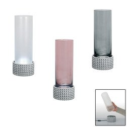 vaso/lampada led in argento