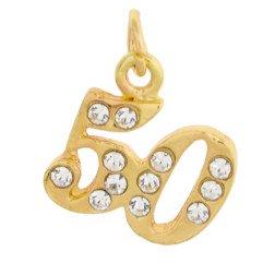 ciondolo numero 50 oro strass per bomboniere nozze oro