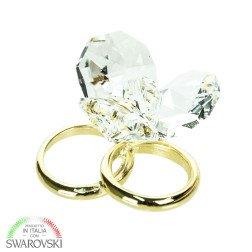 bomboniere cristallo coppia fedi oro con swarovski a fiore