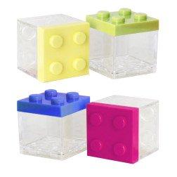 scatolina lego cubo porta confetti colorati in plexiglas