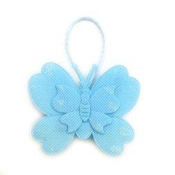 farfalla portaconfetti celeste in tessuto per battesimo e nascita