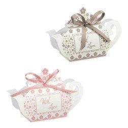 scatoline portaconfetti rosa e tortora teira whit love shabby chic