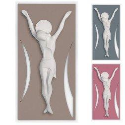 cristo moderno in ceramica su base in legno design italiano
