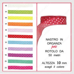 nastro in organza pois 10 mm rotolo da 50 mt