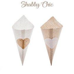 cono Portariso e Portaconfetti in Juta per Matrimonio Shabby Chic e Rustico
