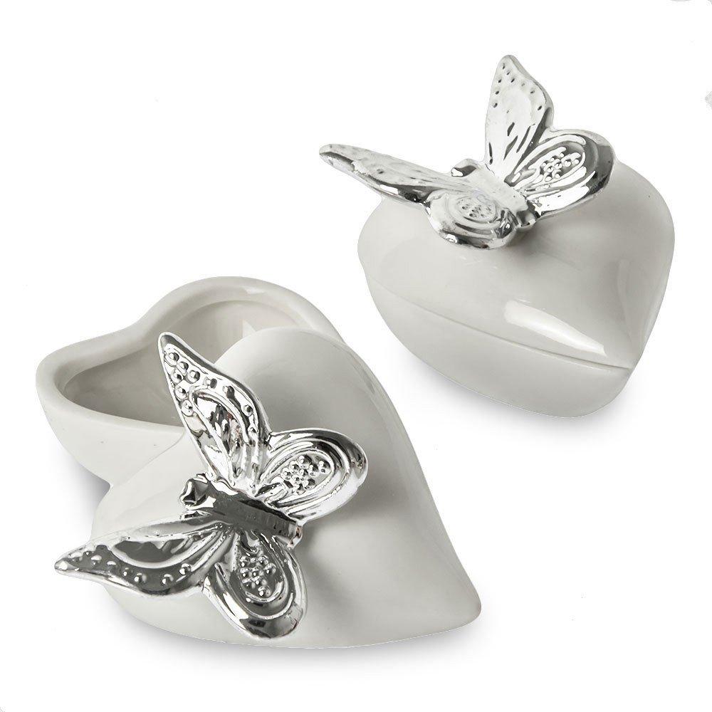 Bomboniere Matrimonio Con Farfalle.Bomboniera Scatolina Cuore Porcellana Con Farfalla