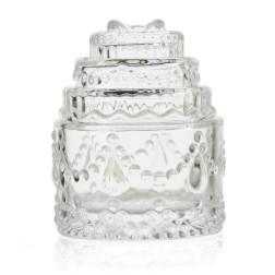 bomboniera scatola in vetro forma di torta