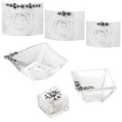 linea cristallo con margherite in argento portafoto scatolina e ciotola