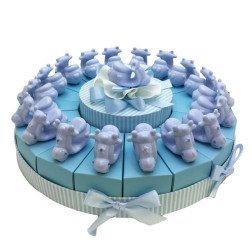 torta 18 pezzi con vespe celesti