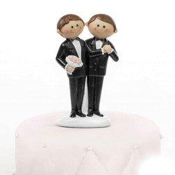 cake topper sposi gay simpatici per centro torta matrimonio