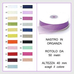 nastro in organza 40 mm rotolo da 50 mt