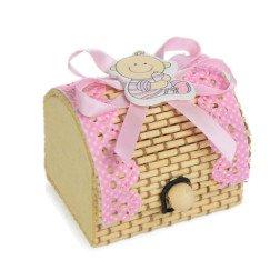 scatolina portaconfetti battesimo bimba rosa offerta
