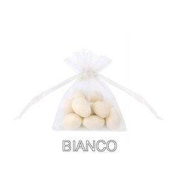 Sacchetto organza porta confetti con tirante misura 7x10 cm BIANCO