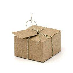 10 scatoline porta confetti marroni shabby chic con cordino e TAG