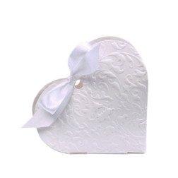 10 scatoline porta confetti a cuore con nastro bianca