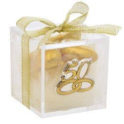 bomboniere nozze oro scatolina in plexiglass placca argento 50 anni matrimonio