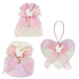 sacchetti portaconfetti battesimo rosa con carrozzina in gesso