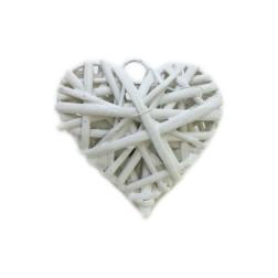 bomboniera shabby chic cuore in metallo rivestito in vimini bianco