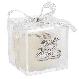bomboniere nozze argento scatolina in plexiglass placca argento 25 anni matrimonio