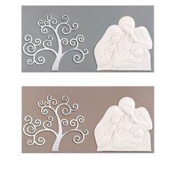 capezzale moderno sacra famiglia in marmo e albero della vita argento su base in legno tortora o grigio 90X45